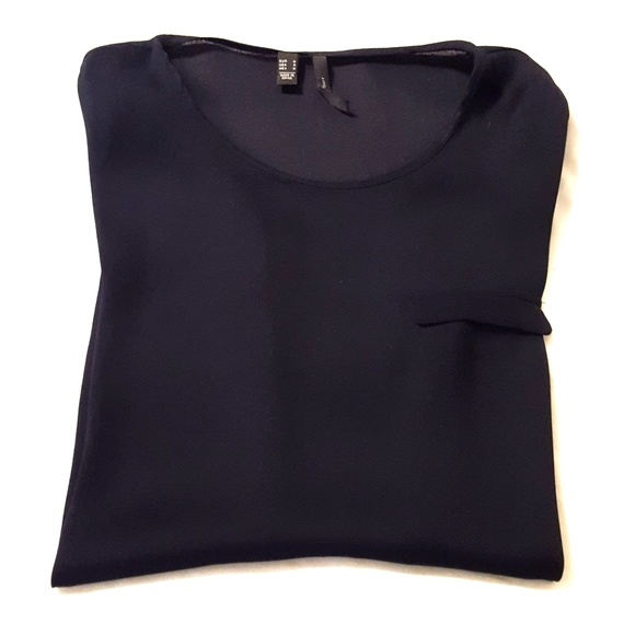 H&M Tops - Dark navy blue sheer blouse